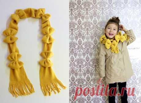 Как украсить вязаный детский шарф своими руками — Теплостолица