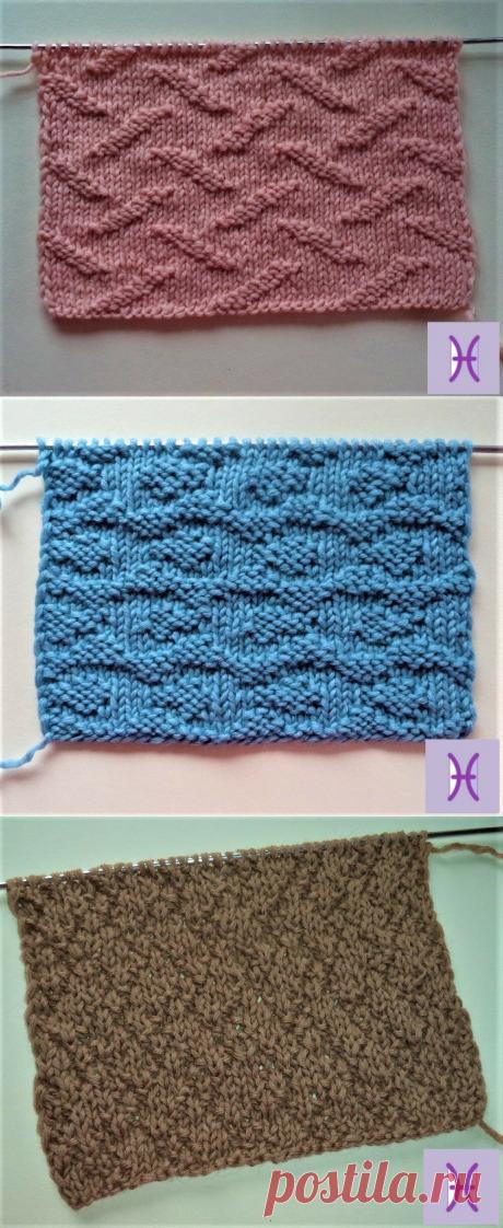 Три классных узора для вязания спицами со схемами   Ручная работа, сделано с любовью   Яндекс Дзен