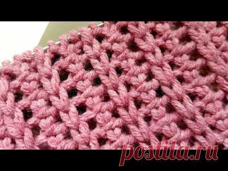 Вяжем объёмную фантазийную решетку спицами 🙋♀️ knitting pattern.