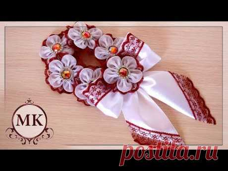 Резинка на пучок. МК. / DIY. Kanzashi. Flower Bun Garland. Headband  Hair Bun. Scrunchies Headband.