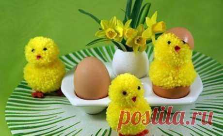 Как сделать пасхальные поделки: цыплята из помпонов, голубки из фетра и пасхальное дерево :: Hand-made