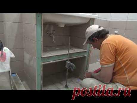 СамодеЛьная Тумба под Раковину из Плитки и гипсокартона в ванную комнату
