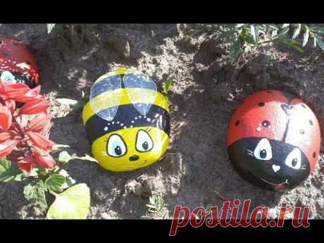РОСПИСЬ по КАМНЮ/ КАМНИ из ЦЕМЕНТА (бетона)/Рисуем на камнях/Божья коровка, пчёлка на камне для сада - YouTube