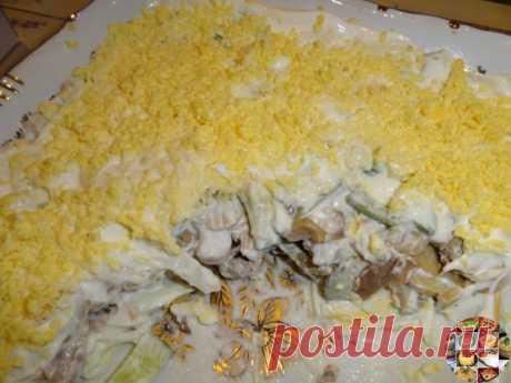 Салат из куриного филе, свежих огурцов и консервированных шампиньонов  Ингредиенты: 2-3 вареных куриных филе 3 вареных вкрутую яйца 2 свежих огурца 1 небольшая луковица 1 небольшая банка консервированных шампиньонов 100 г сыра, майонез  Приготовление: 1.Куриное филе, огурцы, луковицу порезать кубиками. Из шампиньонов слить воду, при необходимости — порезать.  2.Сыр натереть на мелкой терке. Из яиц вынуть желтки, а белки порезать соломкой. Выкладывать в салатник слоями — бе...