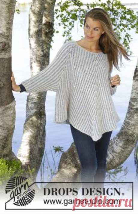 Джемпер Морской воздух Чудная модель женского свитера пончо, связанного из Drops Air на спицах 7 мм по кругу. Вязание модели начинается от воротника...