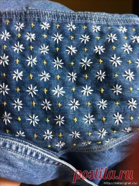 Несколько идей для обновления старых джинсов.