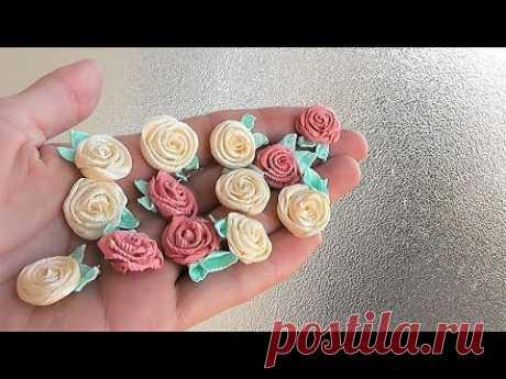 Маленькие цветочки из лент своими руками / Розы мастер-класс