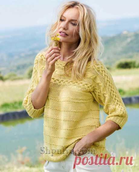 Летний пуловер с «косами» — Shpulya.com - схемы с описанием для вязания спицами и крючком