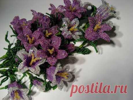 Колокольчики полевые из бисера. Часть 1/5. // Field flowers of a bell from beads.
