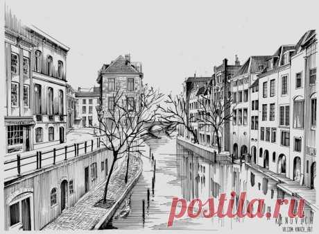 Из коллекции «Рисунки городов (красивые зарисовки)» Чтобы перебраться на другую сторону нужно использовать лодку(гондолу)