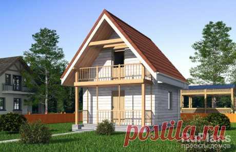 Rg5140 - Одноэтажный дом с подвалом, мансардой, крыльцом и балконом