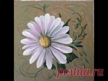 Как рисовать ромашку акрилом.  двойного мазка.One-stroke daisy in acrylic. - YouTube