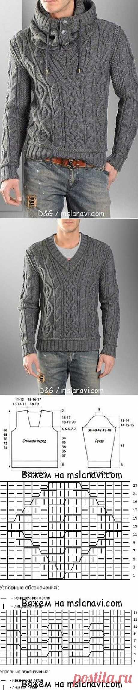 Мужской пуловер спицами от D&G   Вяжем с Ланой