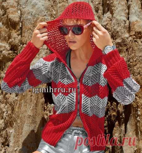 Convenient free summer jacket from a cotton yarn