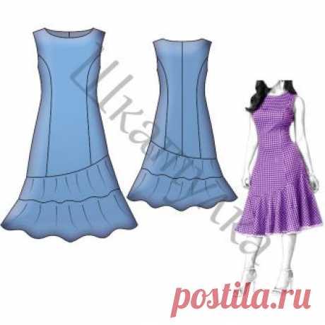 Выкройка платья с рельефами и воланами WD200618 | Шкатулка