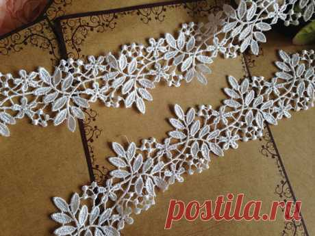 Cream White Venice Lace Trim Floral Leaves Lace Hollowed Out Trim 2 28 Inches Wide 2 Yards Wedding Dress Costumes Supplies - MommyGrid.com