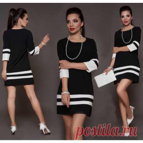 Платье черно белое короткое купить недорого с доставкой