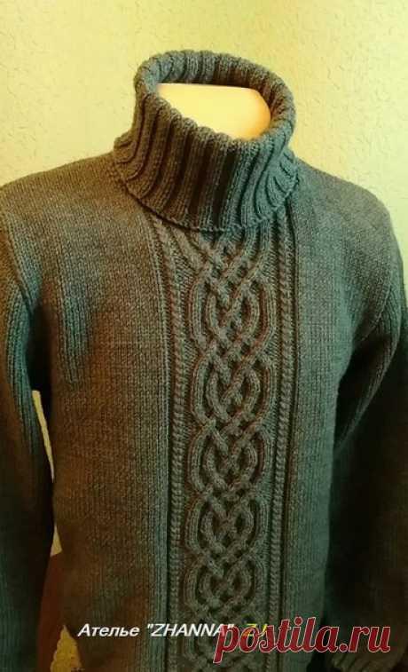 Новая работа нашего ателье. Мужской свитер из полушерсти Ализе ланаголд. Изделие отправляется в г. Львов.
