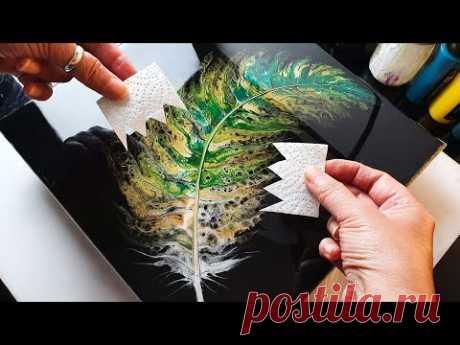 STUNNING Acrylic SWIPE Feather Painting Tutorial | ABcreative - Fluid Acrylic Pour