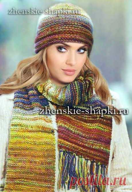 Вязаные шапка и шарф толстыми спицами