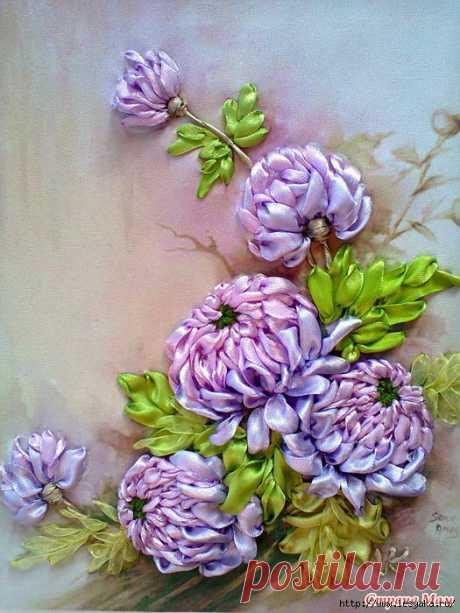 Роскошные хризантемы: вышивка лентами своими руками!
