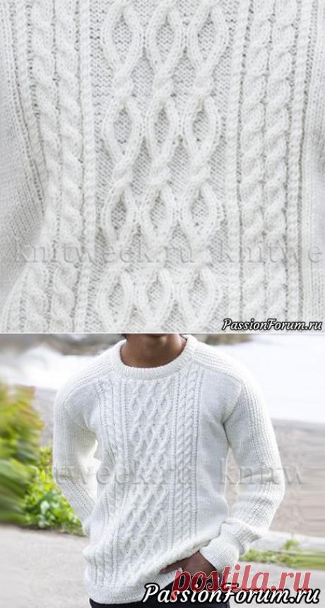 """Пуловер """"Сибирь""""   Вязание для мужчин спицами. Схемы вязания"""