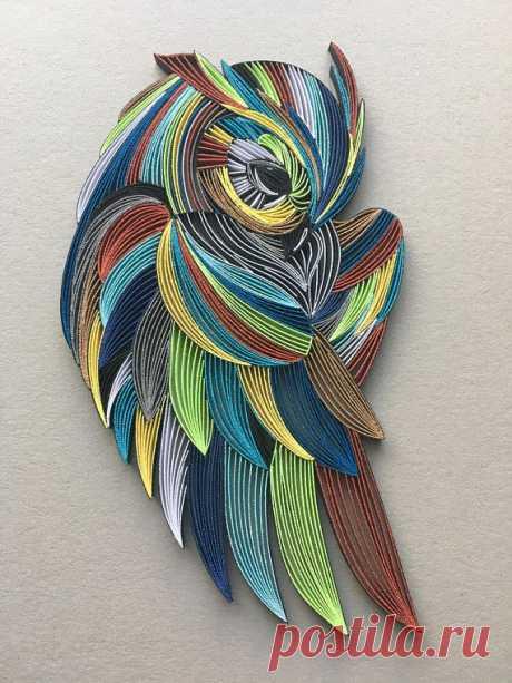 Owl Bird Quilling Wall Art 1 / 83mm tiras de papel - Mis ideas