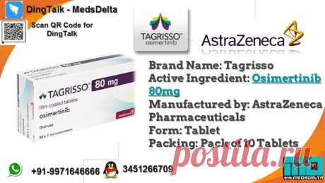 Osimertinib Tablet accessible at MedsDelta Trusted Medicine Supplier and Exporter, Tagrisso 80mg and other cancer medication at discount cost. Call/WhatsApp: +91–9971646666, QQ: 3451266709 for request online Tagrisso Osimertinib Tablet at lower cost