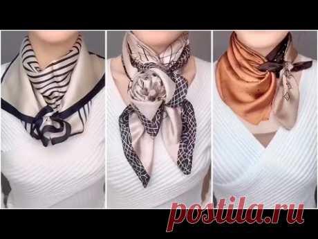 Как завязать платок на шею - 11 способов. Как красиво завязать платок.