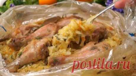 Капуста в рукаве с курицей в духовке