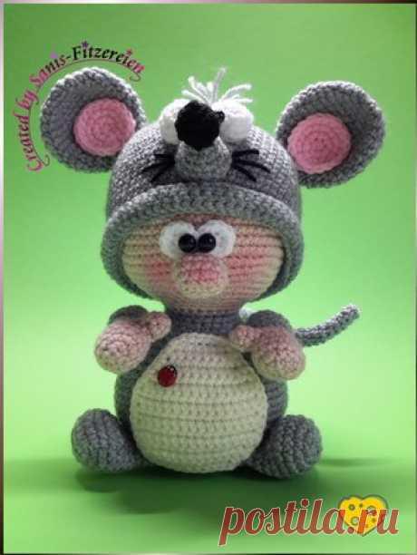 Вязание крючком мыши / сладкий живот и розовые уши