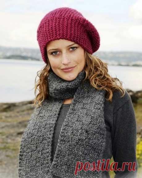 Шапка платочной вязкой спицами для женщин — Подборка моделей