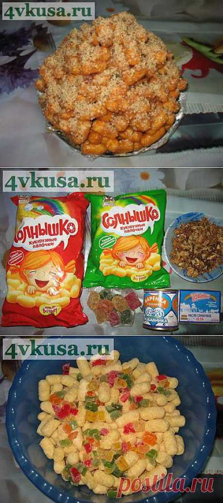Торт из кукурузных палочек (торт без выпечки). Фоторецепт. | 4vkusa.ru