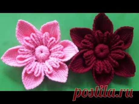 ถักดอกไม้ไหมพรม#ถักโครเชต์ดอกไม้#crochetflower#งบไม่เกิน50บาท