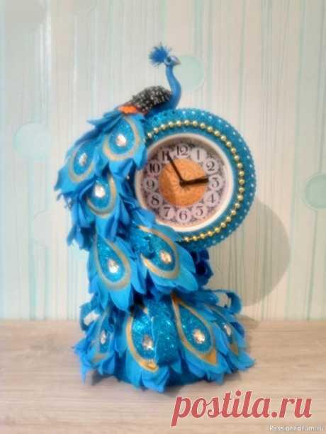 Часы с павлином из фоамирана | Фоамиран
