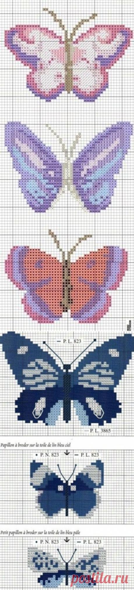 Бабочки. Схемы для вышивки.