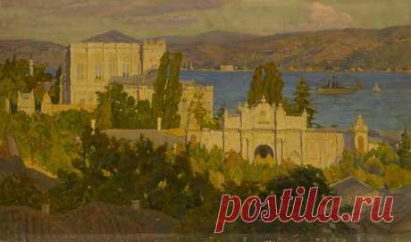 Թերլեմեզյան Փանոս Պողոսի (1865 - 1941) «Դոլմա-Բախչա» պալատը Կոստանդնուպոլսում (1911), կտավ, յուղաներկ ,48x79 սմ Տեղագրություն: Ֆոնդապահոց