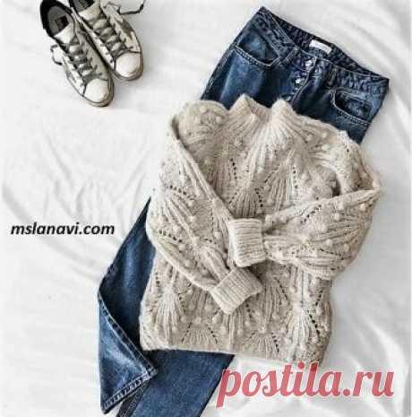 Объемный свитер спицами | Вяжем с Лана Ви