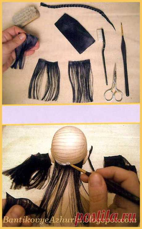 BantikovyeAzhurki.blogspot.com: Как сделать волосы для куклы из ленты (мастер-класс).