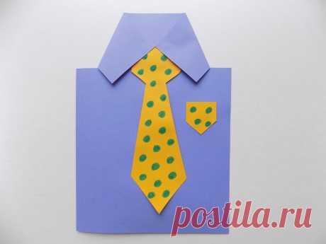 Открытка к 23 Февраля в виде рубашки с галстуком | Поделки с детьми | Яндекс Дзен