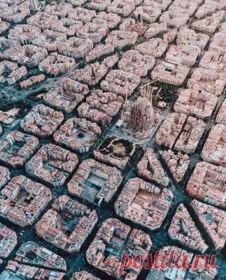 Quarters of Barcelona from height of bird's flight