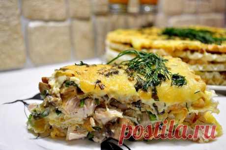 Закусочный торт Наполеон с курицей и грибами рецепт с фото и видео - 1000.menu