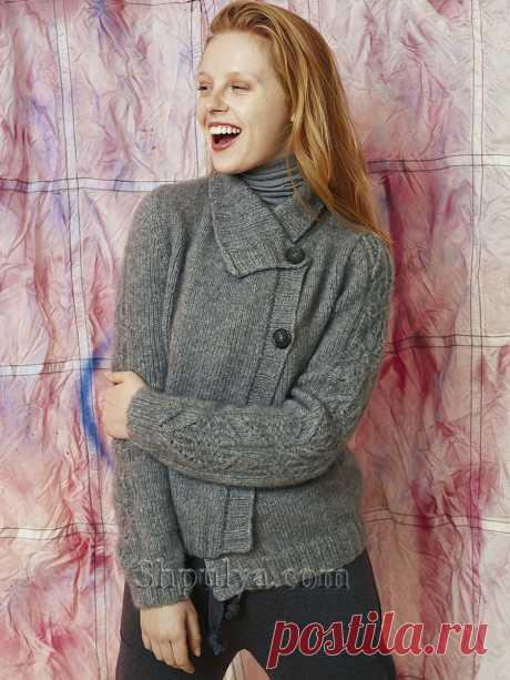 Жакет из кашемира с узорными рукавами — Shpulya.com - схемы с описанием для вязания спицами и крючком