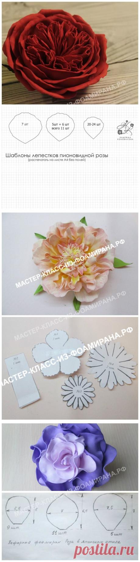 Выкройка розы из фоамирана (шаблоны цветка и лепестков)