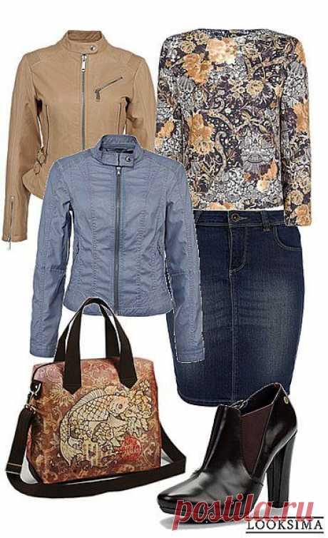 Стильный повседневный комплект с необычной сумкой и джинсовой юбкой-карандаш.