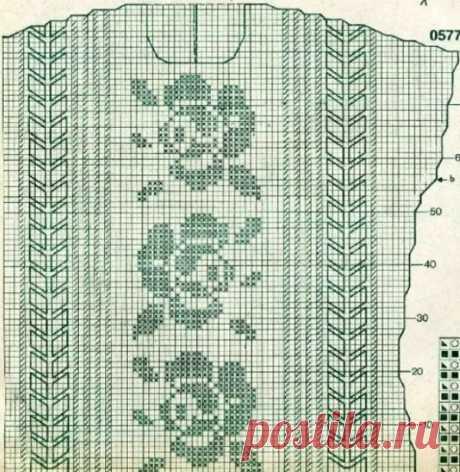 La túnica en la técnica del encaje de filete