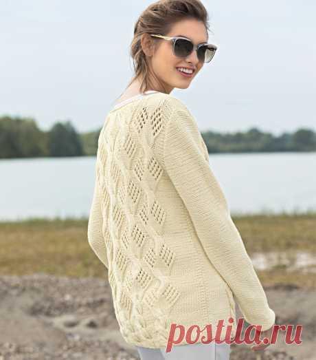 Джемпер цвета ванили - схема вязания спицами.