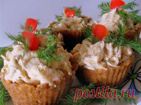 Закусочные тарталетки с сёмгой и сыром