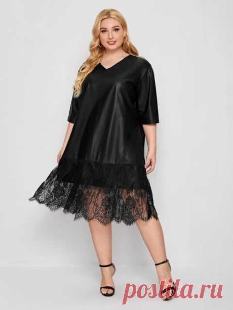Платье из искусственной кожи с v-образным воротником и кружевом размера плюс   SHEIN Россия