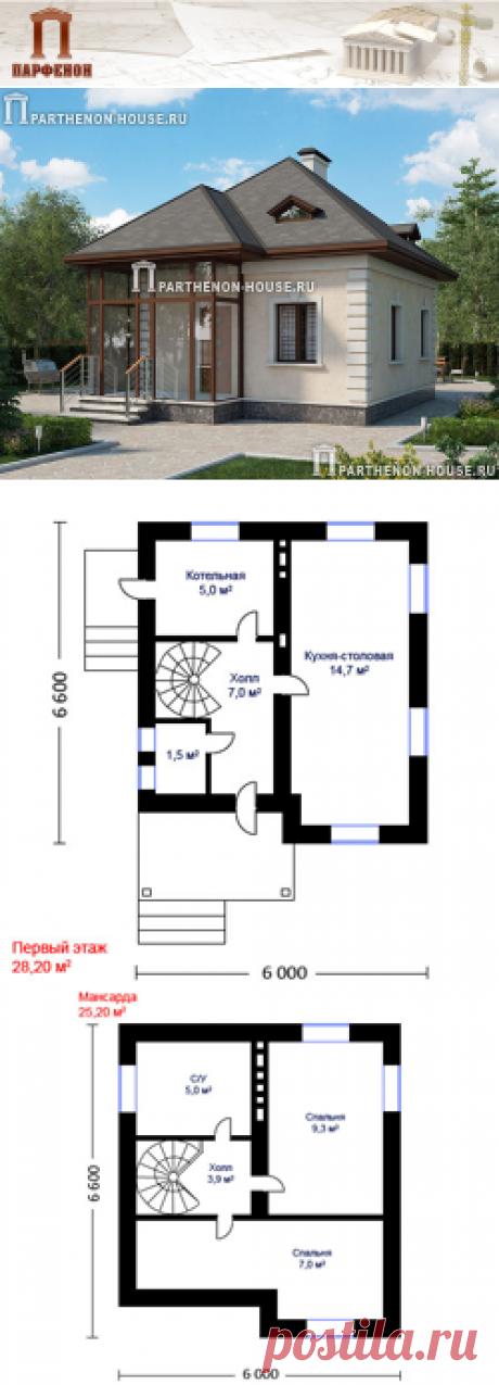 Проект небольшого кирпичного дома НД 53-4  Площадь общая: 53,40 кв.м. Высота потолков 1 этажа: 2,500 м. Высота потолков 2 этажа: переменная.   Технология и конструкция: строительство дома из кирпича. Фундамент: свайный, буронабивной. Стены: из кирпича толщиной 380 мм. Междуэтажное перекрытие: по деревянным балкам. Кровля: покрытие - битумная черепица.   Габаритные размеры дома: 6,600 х 6,000 м.